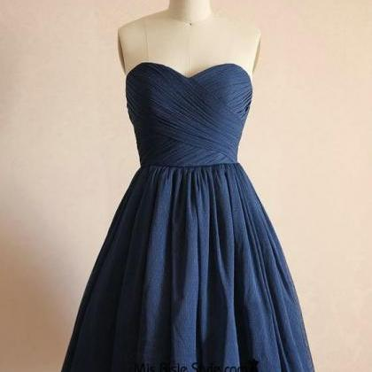 Short Navy Blue Polka Dots Tulle Br..