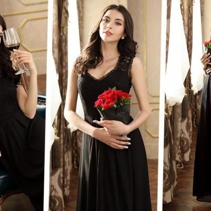 c0a6f12957bc Women's Casual Deep- V Neck Sleeveless Vintage Maxi Prom Dresses ...