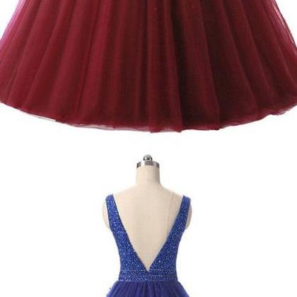 Ball Gown Prom Dresses Burgundy Bac..