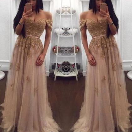 Champagne Evening Gowns,Tulle Prom ..
