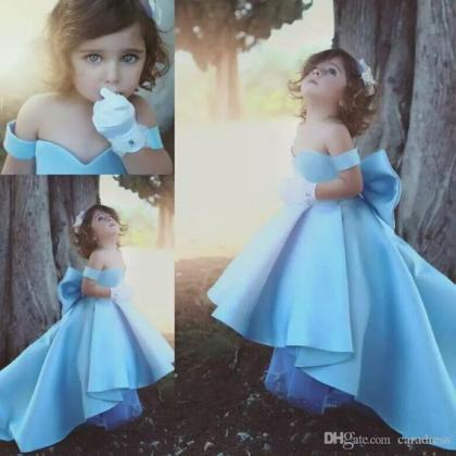 9e6685a68 Cute Baby Blue Flower Girls Dress With Big Bow High Low Sweetheart A ...