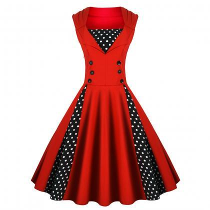 Vintage Dress Polka Dot Patchwork S..