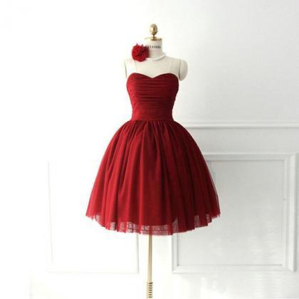 Simple Dark Red Tulle Sweetheart Sh..