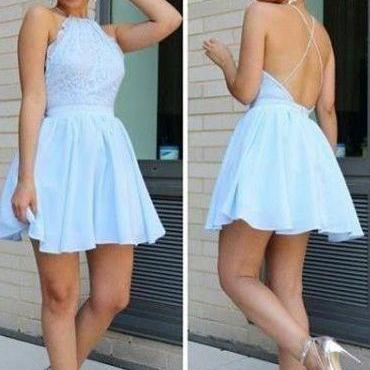 Light Blue Homecoming Dress, Halter..
