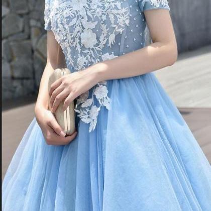 Cute Tulle Blue Lace Applique Short..