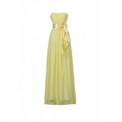 Yellow Sweetheart Bridesmaid Chiffon Prom Dresses Long Evening Gowns