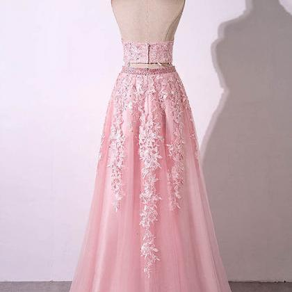 Pink tulle strapless two pieces lon..