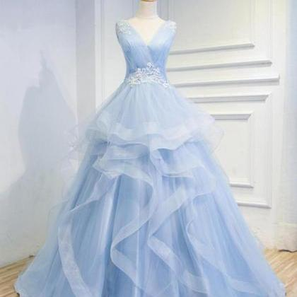 Sweetheart Baby Blue Organza V neck..