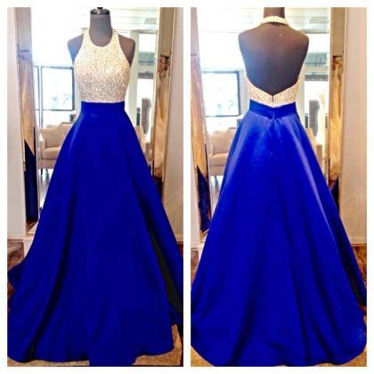 New Design Long Royal Blue Prom Dre..