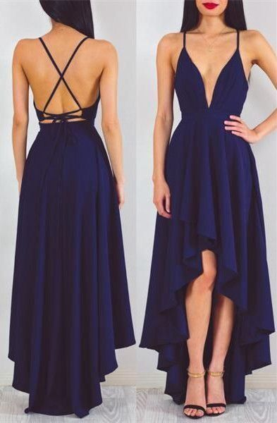 b80038e8a4 Backless prom dress, high low prom dress, cute navy blue chiffon prom dress  with