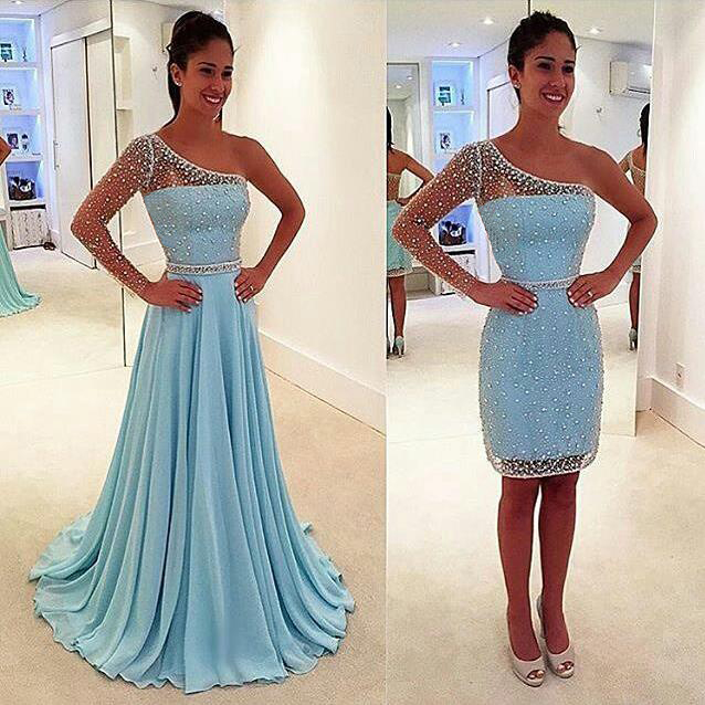 Evening Dresses 2016, Light Blue Evening Dresses,One Shoulder Evening Dresses,removable skirt,Long Evening Dresses,Evening Gowns,Red Carpet Dresses 2016,Long Prom Dresses, Formal Gowns,Party Dresses