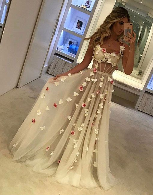 1c87fb5842f Unique Sweetheart Tulle White Long Prom Dress