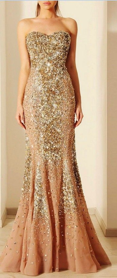 87d109d176 Beautiful Champagne Color With Gold Diamonds Prom Dresses