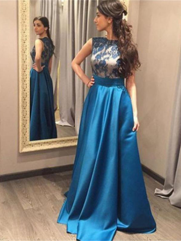 Blue Prom Dress,Lace Prom Dresses,Long Prom Dresses,Classy Prom ...