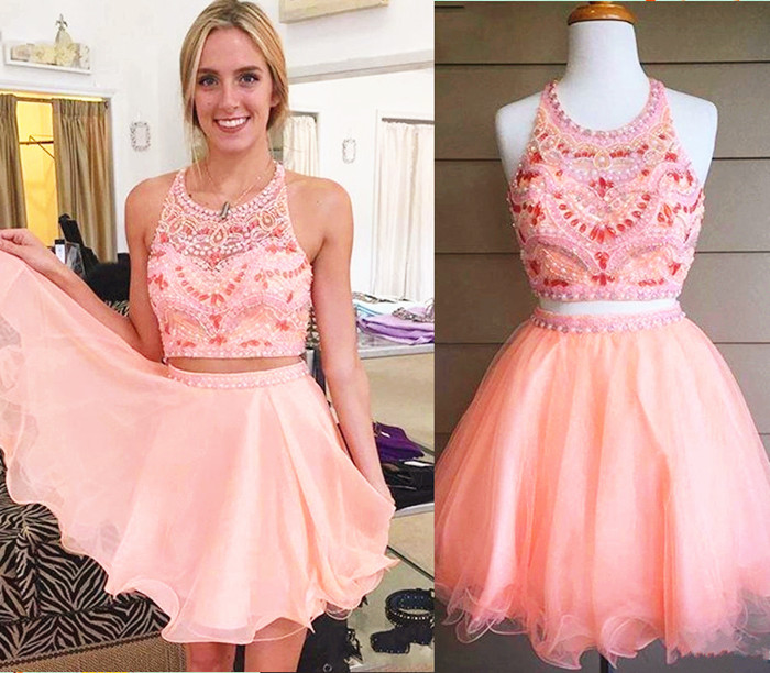 Silver Beading Homecoming Gowns,Blush Pink Homecoming Dresses,2 Piece Beading Dresses,Blush Pink Sweet 16 Dress,Two Pieces Evening Gowns