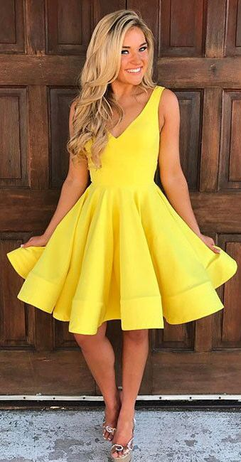 cute yellow homecoming dresses