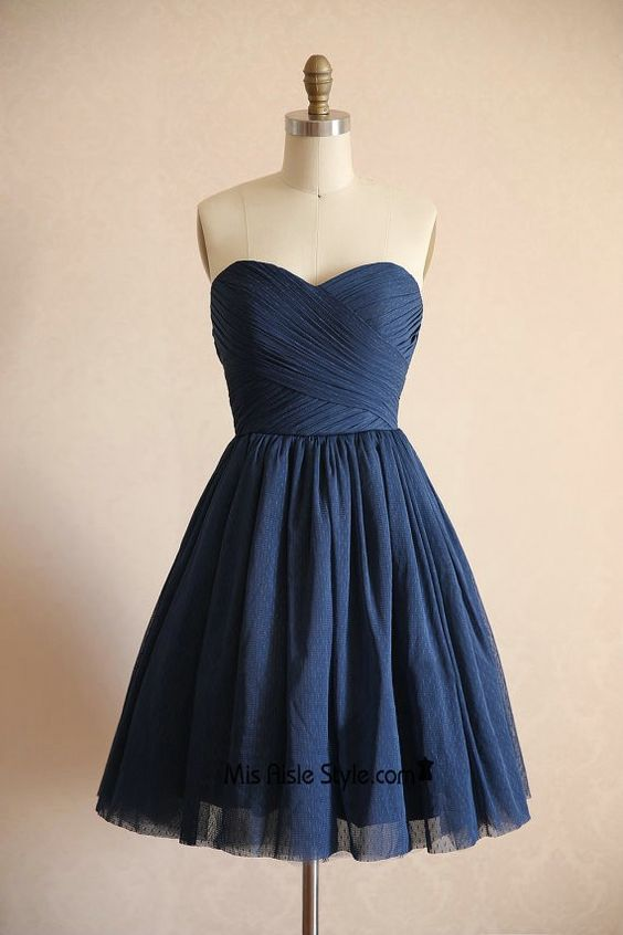 Short Navy Blue Polka Dots Tulle Bridesmaid Dress
