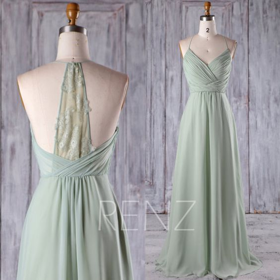 Bridesmaid Dress Dusty Mint Chiffon Wedding Halter Straps Long Prom Ruched Top Lace Back Evening Full Length