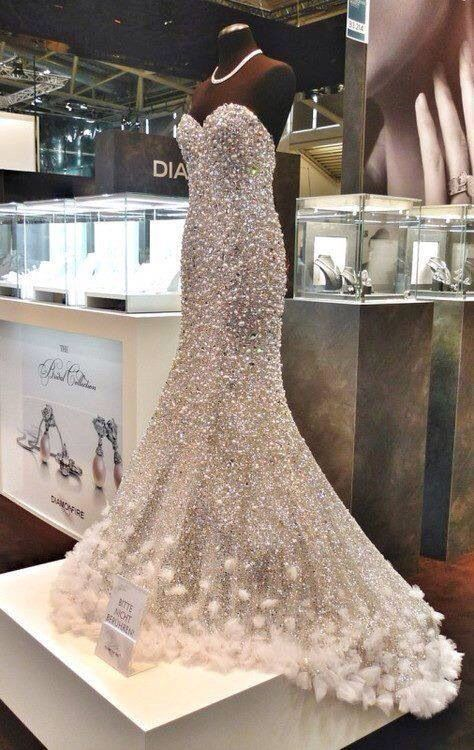 Luxury Mermaid Wedding Dresses Rhinestones Pearl Crystal Bead ...