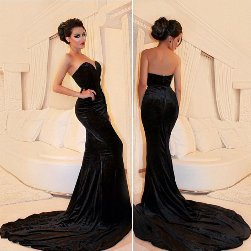 Sleeveless Black Velvet Prom Dress Formal Occasion Dress Evening ...