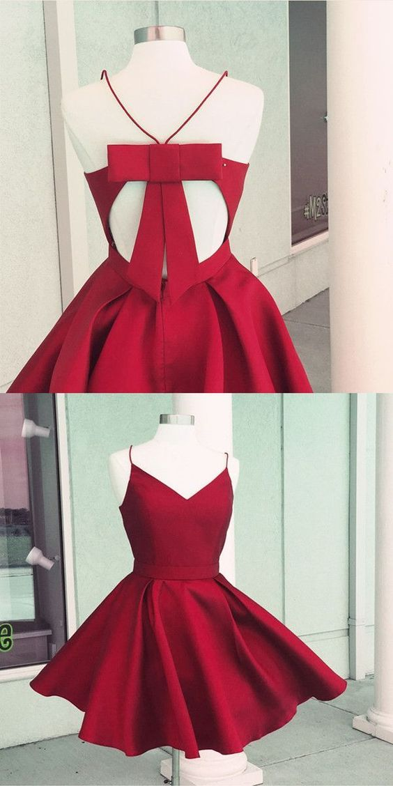 Short homecoming dresses, satin dresses, red gowns, spaghetti straps dresses