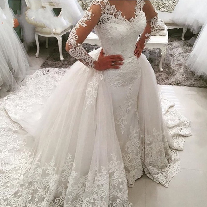 Vintage Lace White Wedding Dresses, 2017 Princess Long Sleeve ...