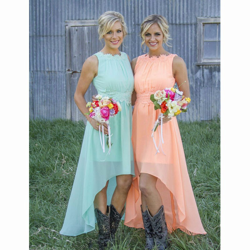 Mint Bridesmaid Dress High Low Dresses Orange