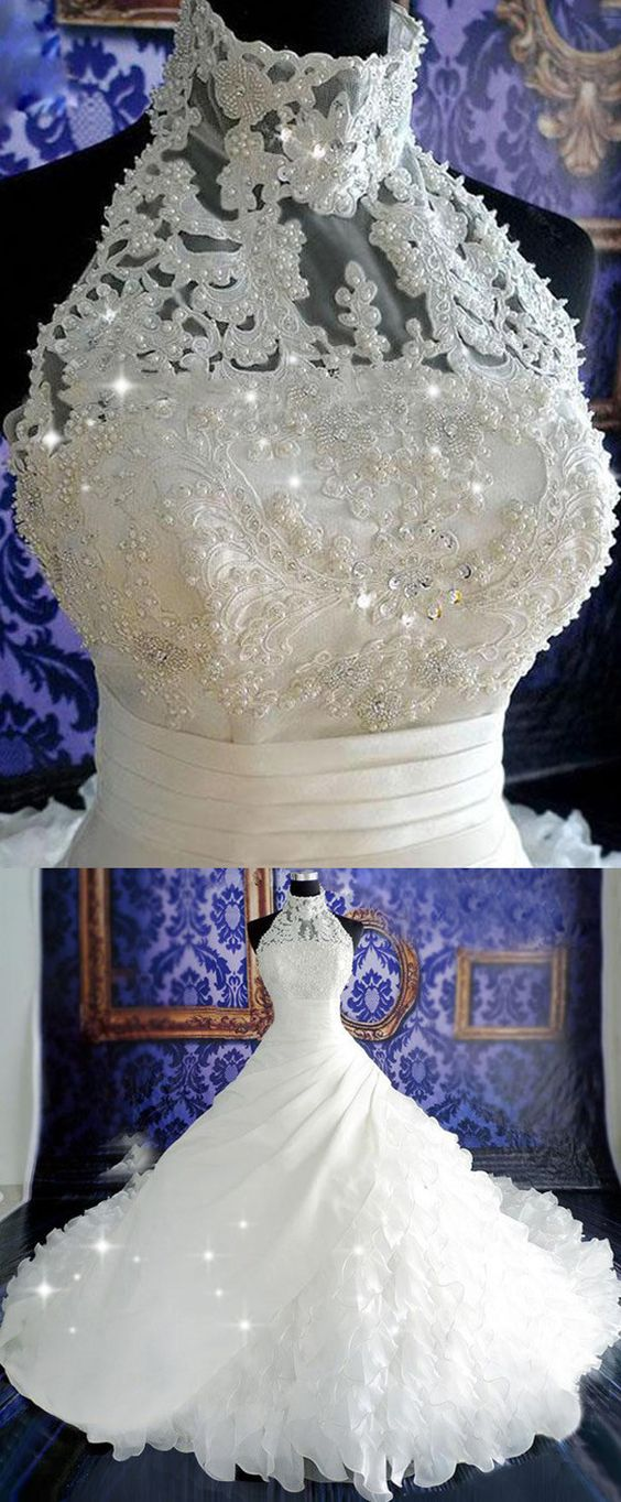 Purple Wedding Dress with High Collar
