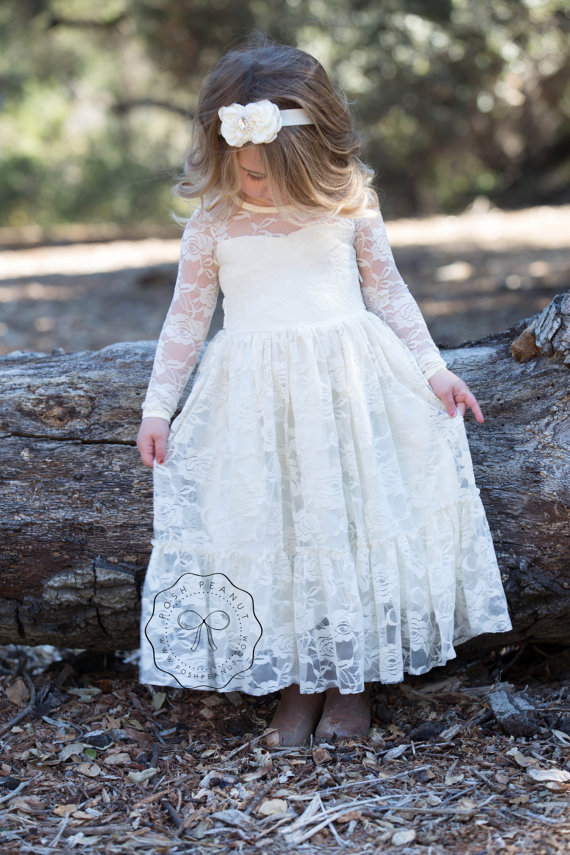 Lace Girl Dress Flower Girl Dress Flower Girl Lace Dresses Long Sleeve Dress Country Lace Dress Cream Toddler Dress Ivory Lace Dressf555