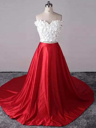 Two Piece Prom Dresses Y Red White Off The Shoulder Long Dress Evening P794