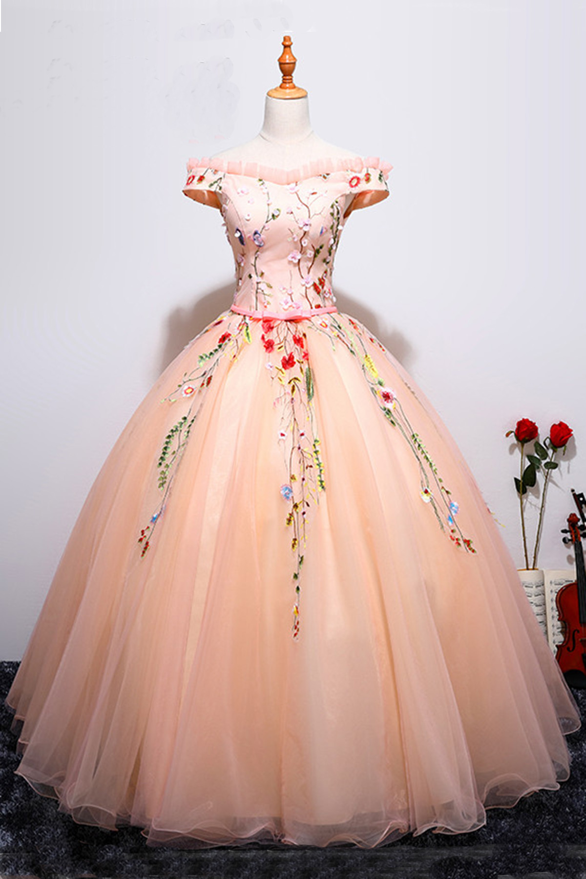 Pink Tulle Off Shoulder Lace Appliques Long Ball Gown, Vintage ...