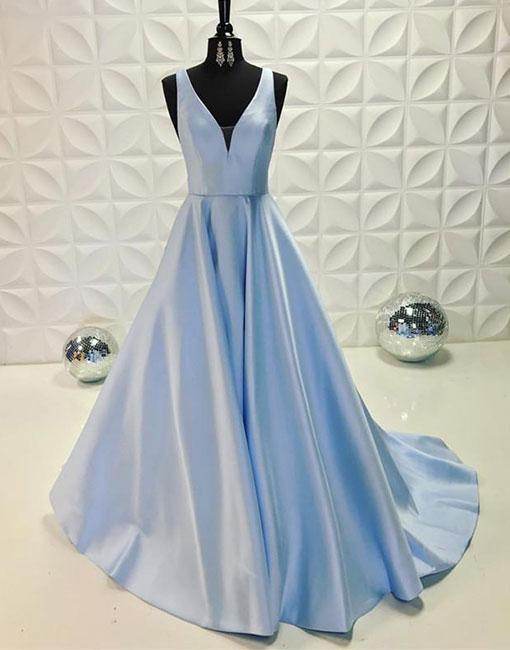 Sexy A-Line Deep V-Neck Light Blue Prom Dress,Sleeveless Evening Dress,Blue Formal Dress,P1004