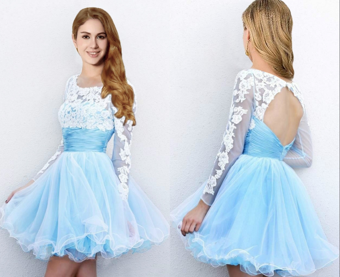 a279ab4411e Hot Sale Short Mini Light Blue Prom Dresses with Long Sleeves Cheap Tulle  Skirt Prom Party Gown Homecoming Dresses Graduation Gowns