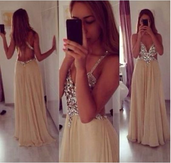 Pretty Champagne Prom Dresses,Straps Cross Back Prom Dresses,Beaded Chiffon Long Prom Dresses,Backless Evening Dresses,Formal Gowns,P1047