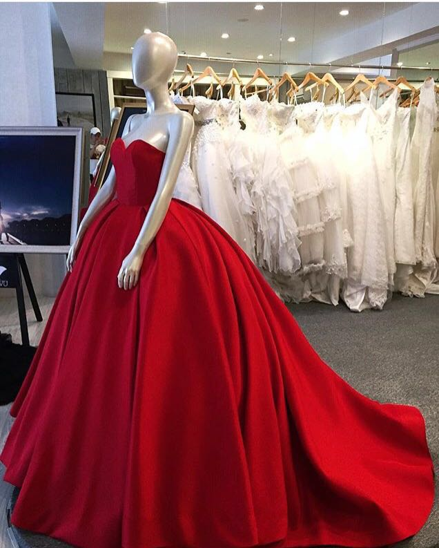 Red Ball Gown, Sweet Heart Prom Dress, Simple Charming Prom Dress ...