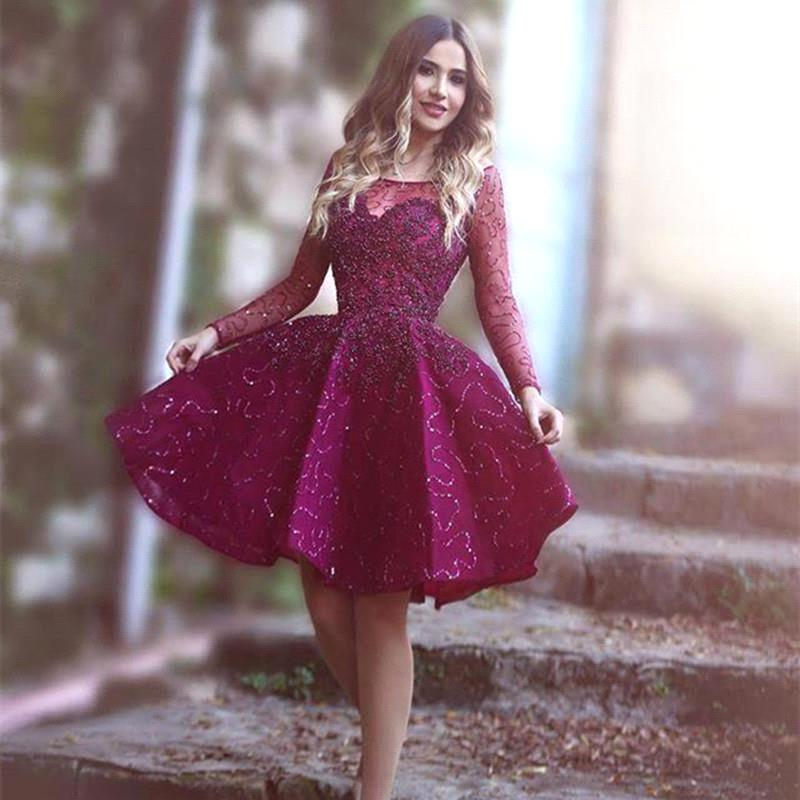 Purple Homecoming Dress, Long Sleeve Homecoming Dress, Short ...