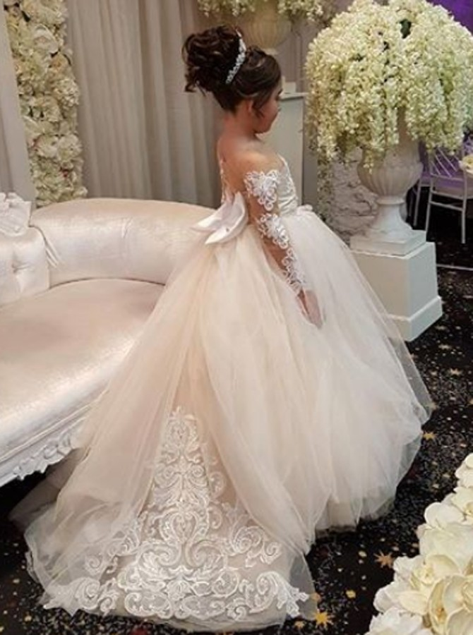 eb4711c6bc1 Long-Sleeve Lace Gown Romantic Ball 2018 Flower Girls Dresses ...