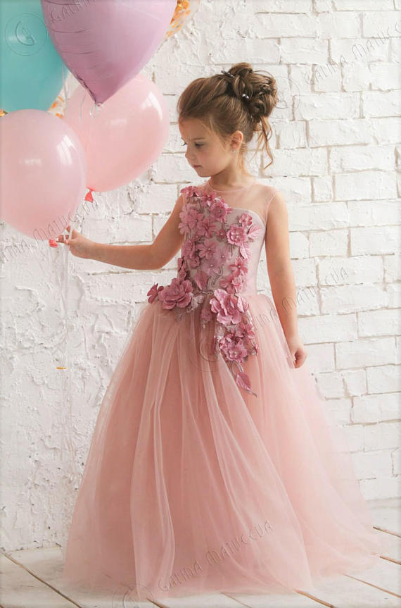 ca78c53f9 Blush Pink Flower Girl Dress - Birthday Wedding party Bridesmaid Holiday Blush  Pink Tulle Dress Lace Flower Girl Dress 3D Flowers,FG1375