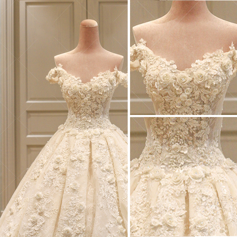 Amazing Unique Champagne Wedding Dresses 2017 Ball Gown Lace