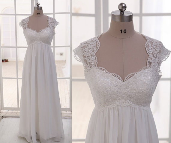 c2592c7c0f Cap Sleeves Lace Empire Waist Chiffon Wedding Dress, Maternity Wedding Dress,  Beach Wedding Gown