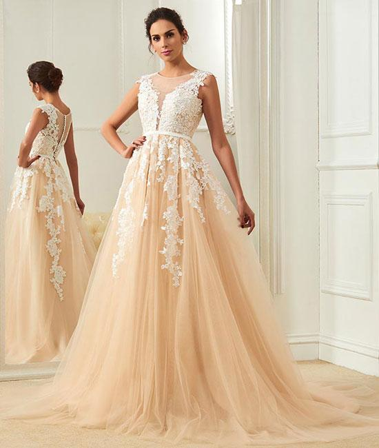 Champagne Round Neck Tulle Lace Lique Long Prom Dress Evening Liques Bridal Dresses W1703