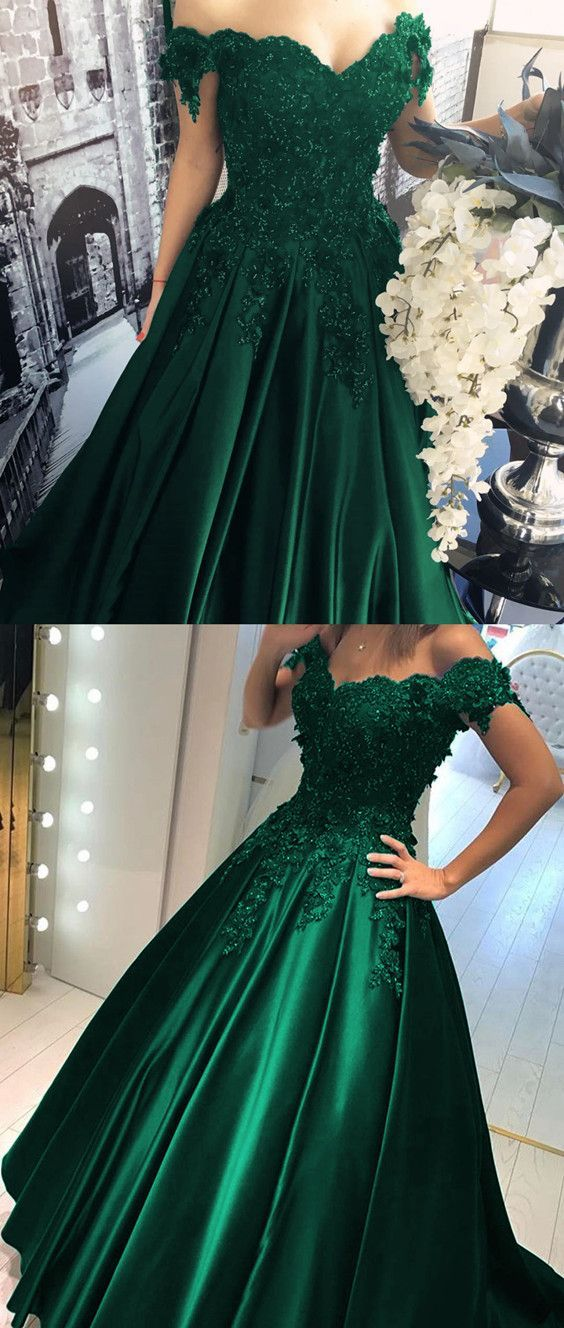 Elegant Off Shoulder Dark Green Ball Gowns With Appliques 14ee21d19