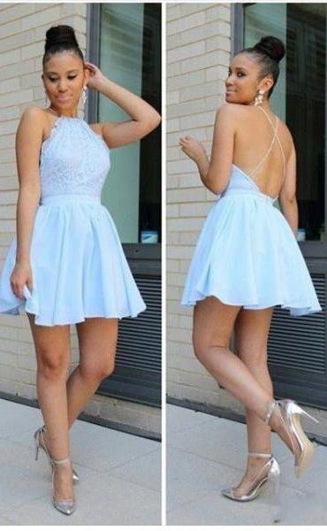 Light Blue Homecoming Dress, Halter Homecoming Dress, Short Backless Homecoming Dress,H1810