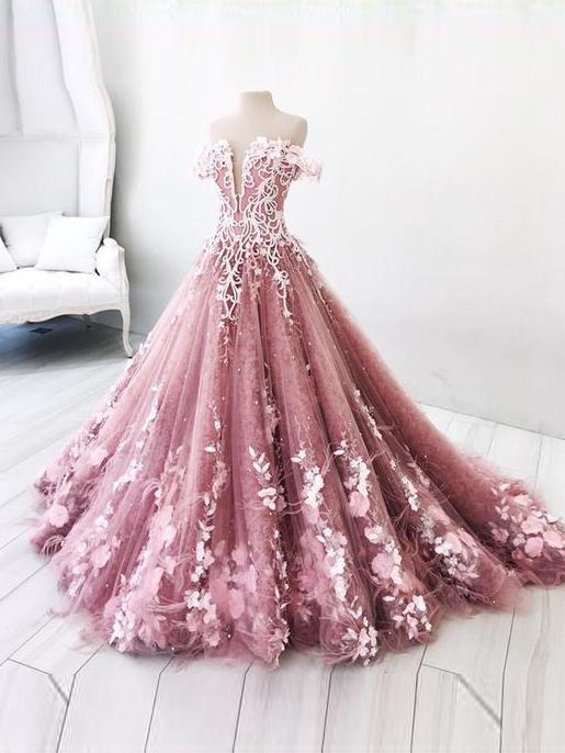 Beautiful Prom Dress A-line Off-the-shoulder Lace Floral Elegant Long Prom Dresses/Evening Dress,P1945
