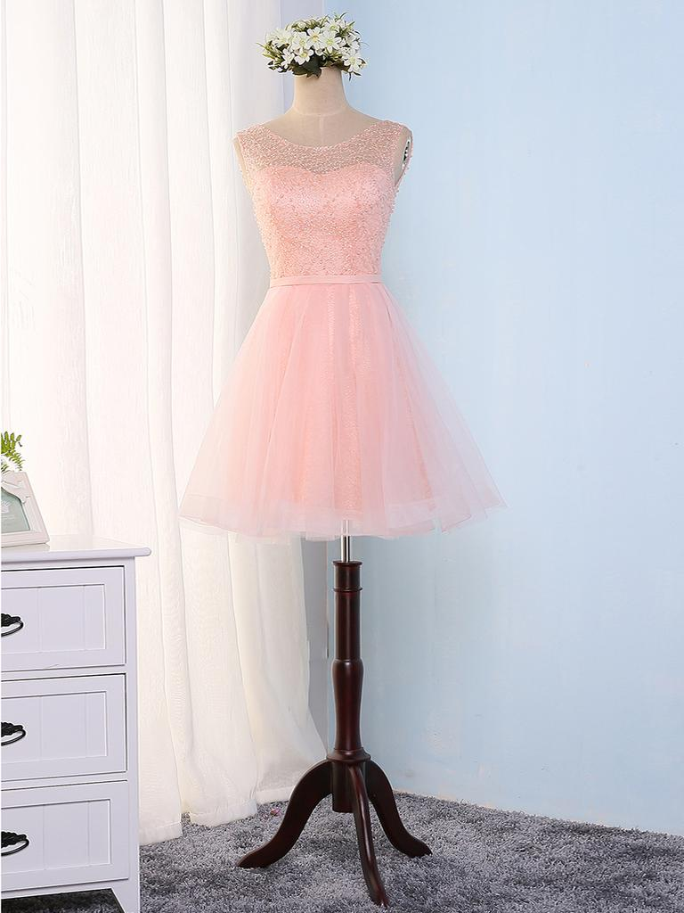 A-LINE HOMECOMING DRESS SCOOP SHORT/MINI PROM DRSESS JUNIORS HOMECOMING DRESSES ,H1951