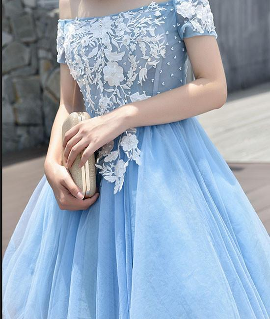 Cute Tulle Blue Lace Applique Short Prom Dress, Cap Sleeve Blue Homecoming Dress,P1993