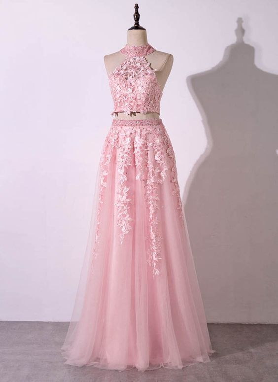 Pink tulle strapless two pieces long lace prom dress, open back party dress,P2109
