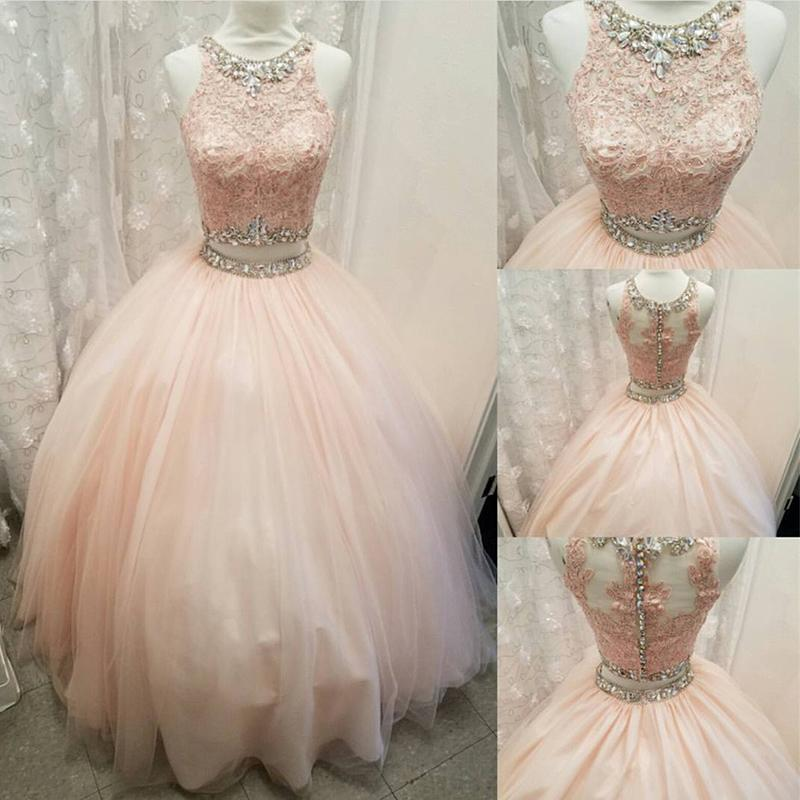 3e67d70f012 Blush Pink Crop Top Ball Gown Prom Dress Two Pieces Quinceanera Dress  Debutante Gown 2018