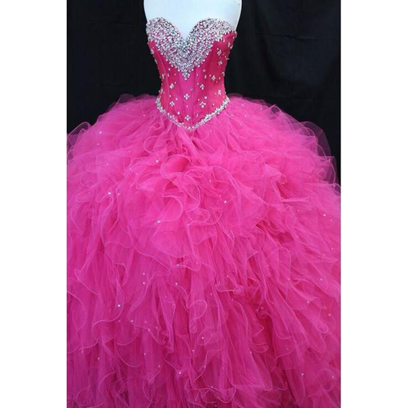94e379f7267 Fuchsia Pink Quinceanera Dress S Ball Gown Sweetheart Beading Sweet Sixteen  Dress,P2150