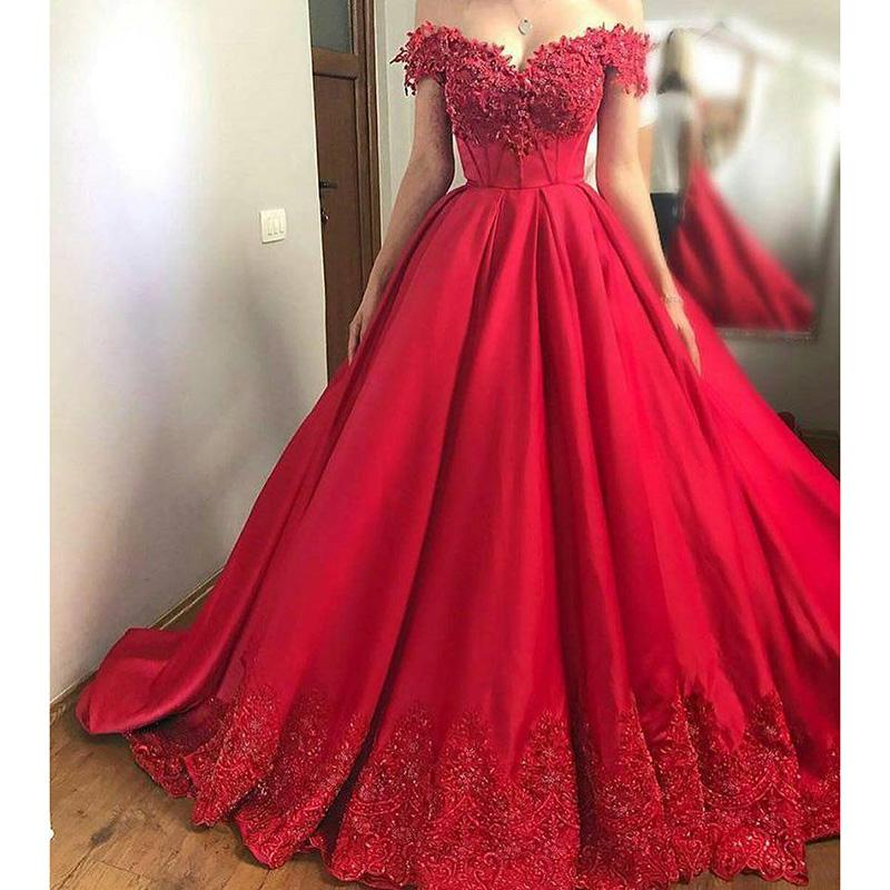 New Red Ball Gown Prom Dresses Women Evening Off The Shoulder Lace Vestido De Festa P2170